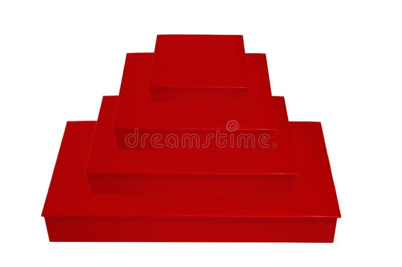 栈四个红色配件箱 库存图片