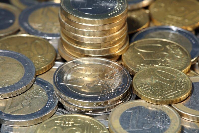 栈欧洲硬币 免版税图库摄影