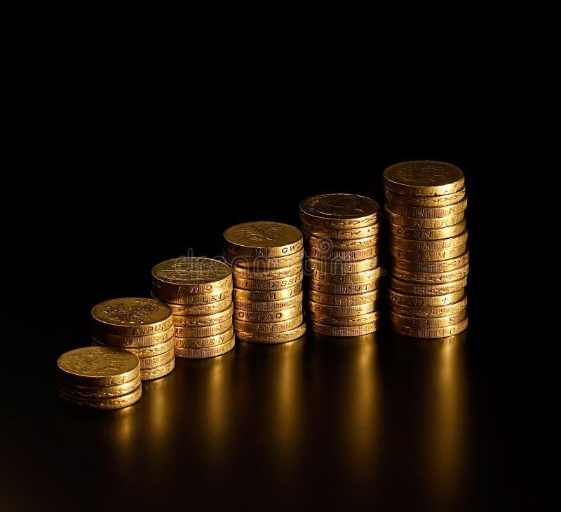 栈英磅硬币 免版税图库摄影