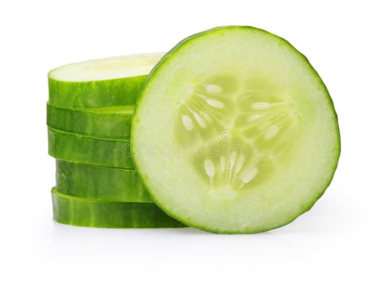 栈绿色黄瓜片式 免版税库存照片