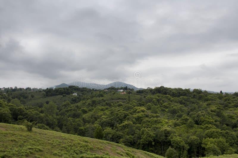 树、房子、山和云彩看法  库存照片