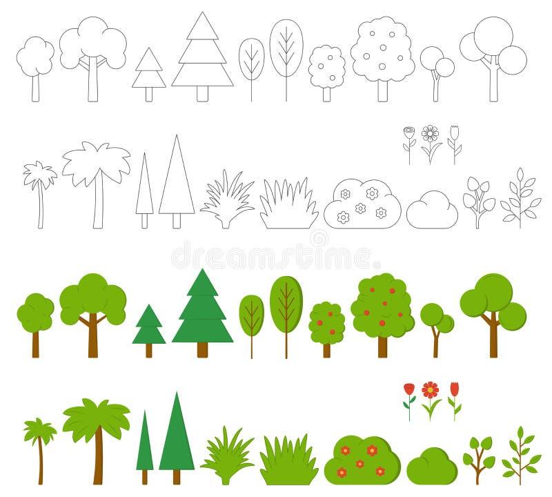 树、灌木和花 元素集向量 库存例证