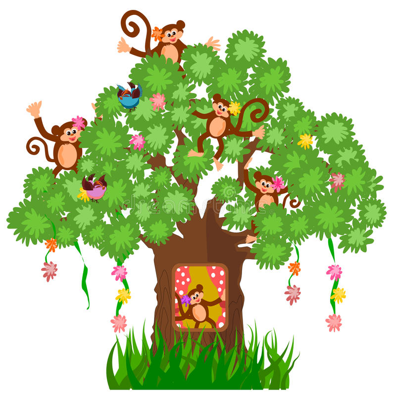 树上小屋和猴子 库存例证