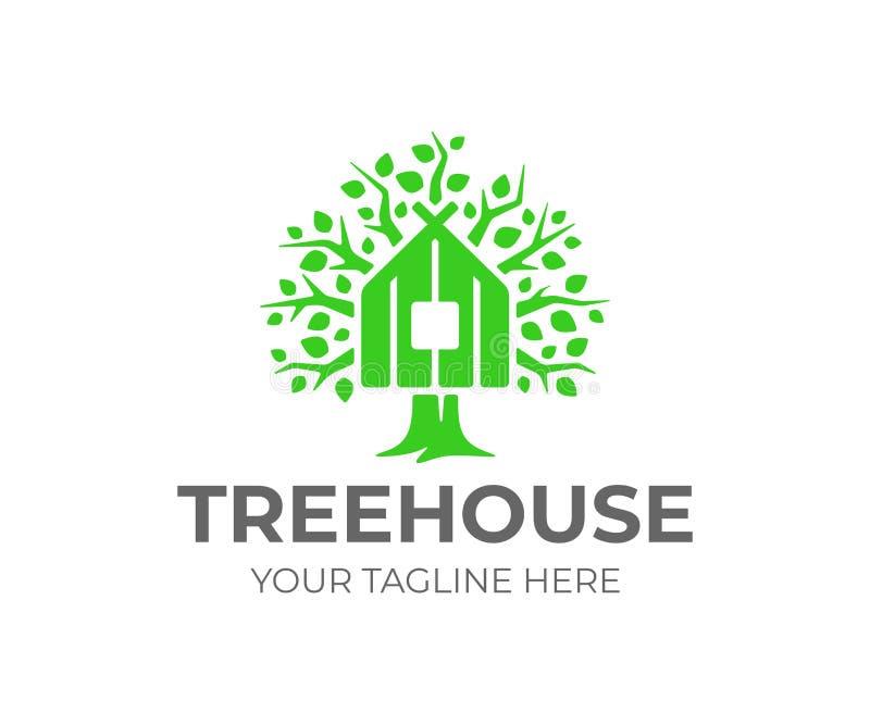 树上小屋商标设计 绿色eco房子传染媒介设计 向量例证