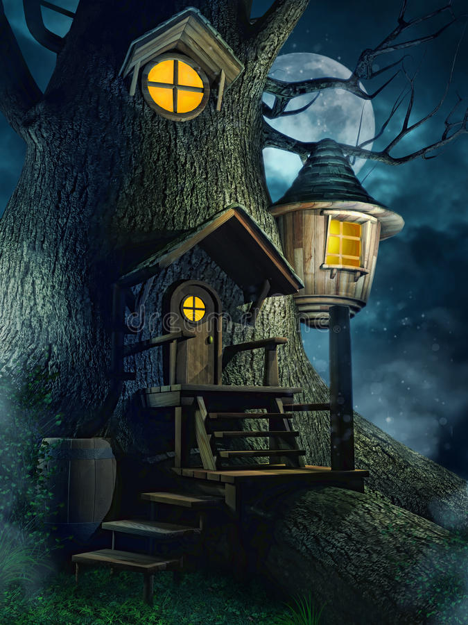 树上小屋在晚上 库存例证