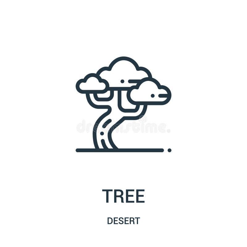 树从沙漠汇集的象传染媒介 稀薄的线树概述象传染媒介例证 线性标志为在网和机动性的使用 皇族释放例证