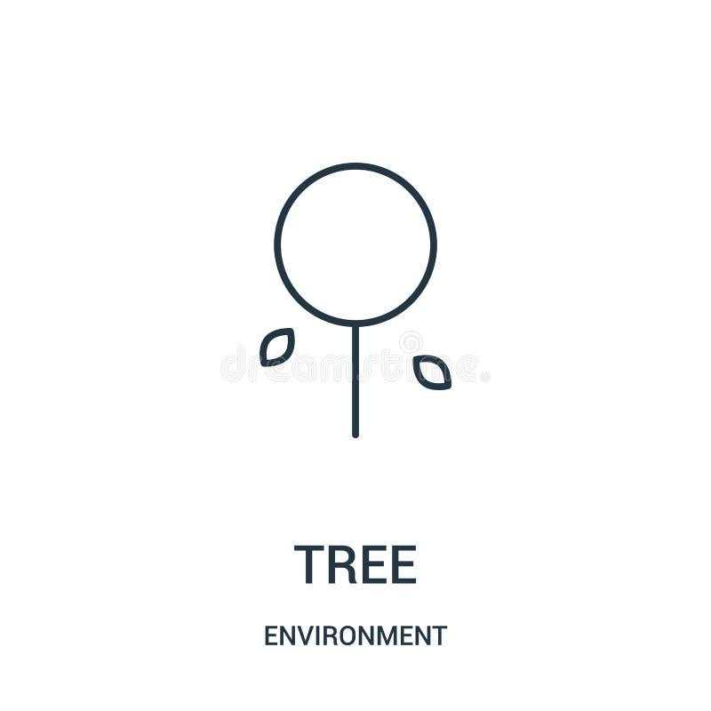 树从环境汇集的象传染媒介 稀薄的线树概述象传染媒介例证 向量例证