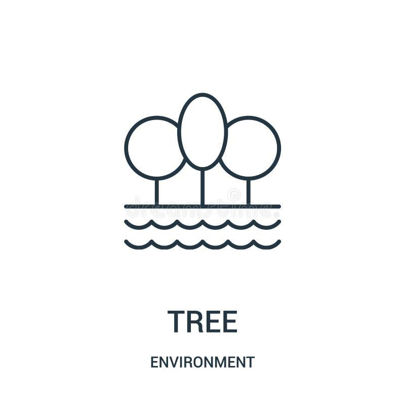 树从环境汇集的象传染媒介 稀薄的线树概述象传染媒介例证 库存例证