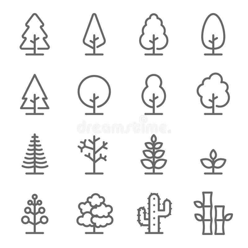 树传染媒介线象集合 包含这样象象木头,植物,杉木,仙人掌,竹子和更 膨胀的冲程 向量例证