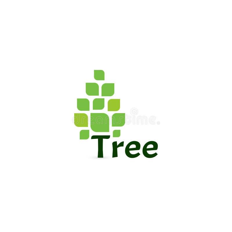 树传染媒介象 简单的杉木商标 在空白的白色背景的绿色树 传染媒介略写法 向量例证