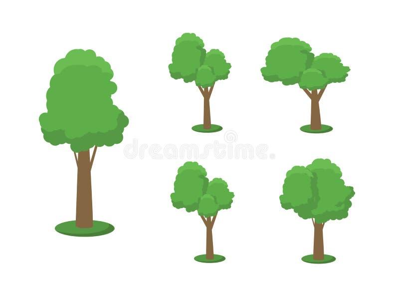 树例证的汇集 能使用说明所有自然或健康生活方式题目 花,草,大 向量例证