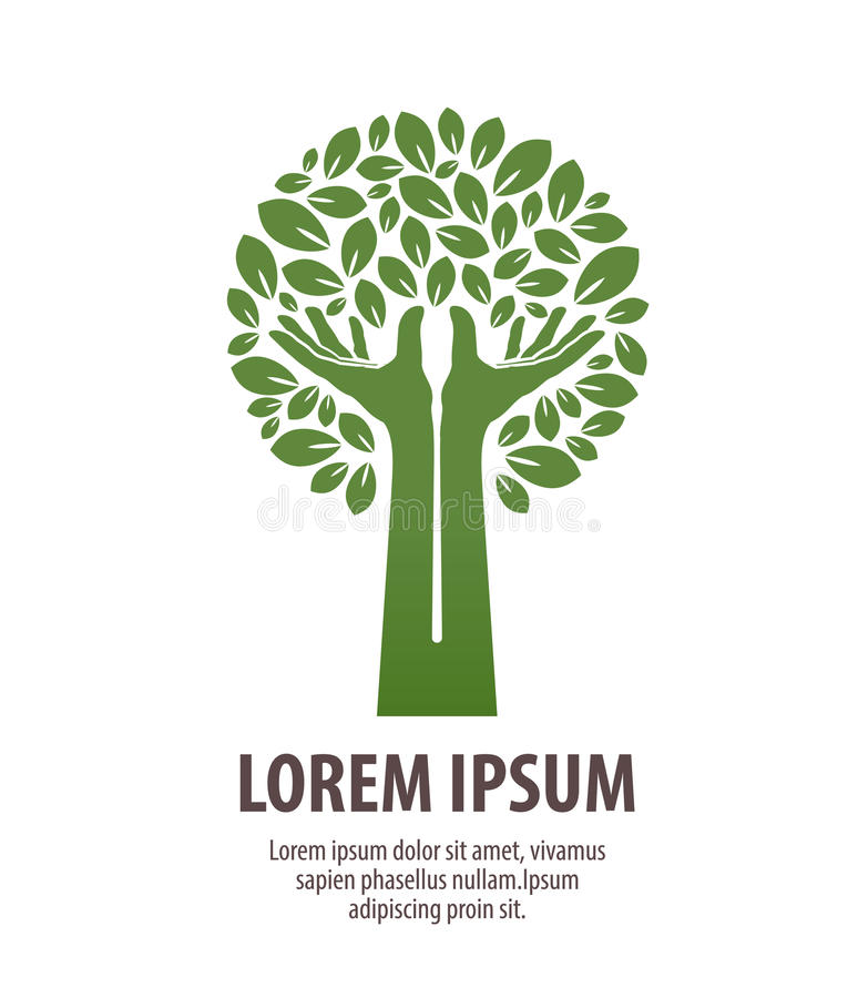 树做了手和叶子 自然商标或生态 象,标志 向量例证
