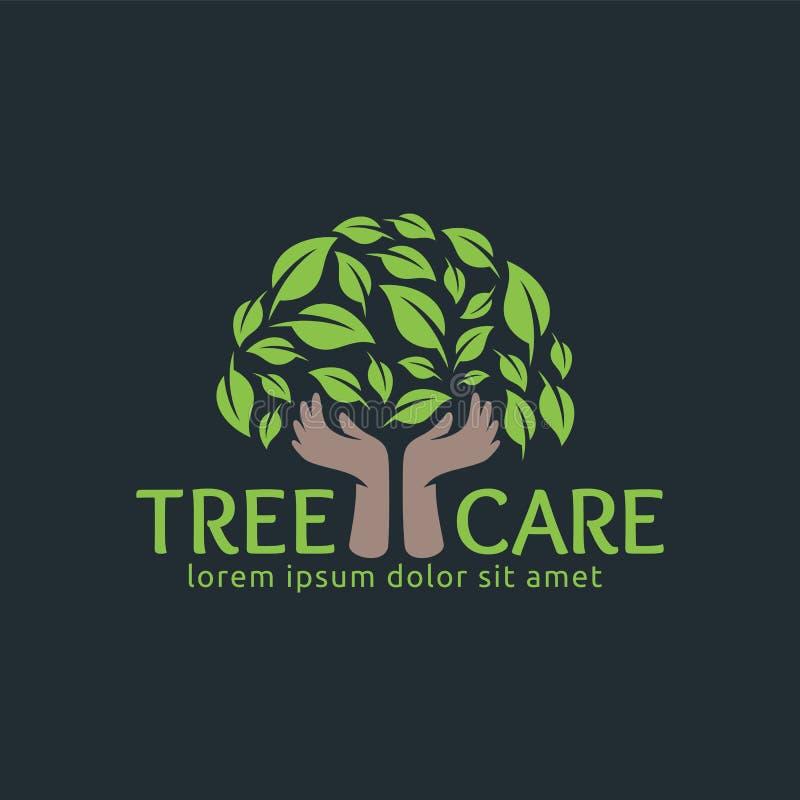 树关心,叶子商标设计模板,容易定做 皇族释放例证