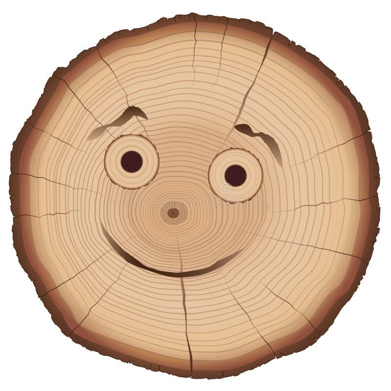 树切片可笑的面孔 皇族释放例证
