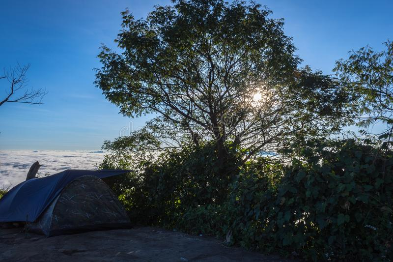 树剪影与五颜六色的日落或日出天空的在露营地7 拉翁火山是最富挑战性所有Java的山 图库摄影