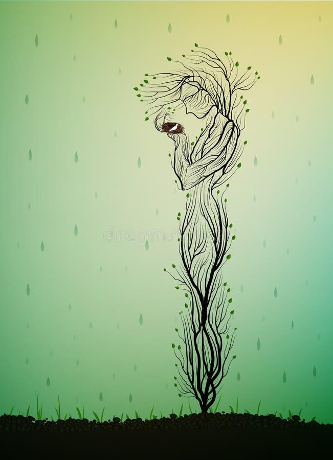 树剪影喜欢拿着与白色鸟的巢和躲藏起来从它雨,春天树灵魂,树活想法的妇女 向量例证