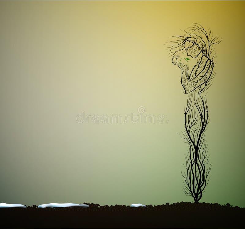 树剪影喜欢拿着第一个绿色新芽,第一个春天新芽,树活想法的妇女, 向量例证