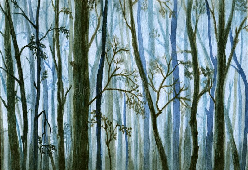 树剪影在雾,有薄雾的森林-水彩例证的 库存例证