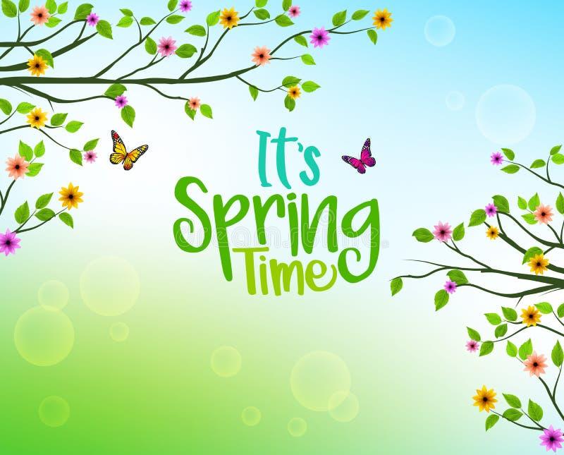 树和五颜六色的花和生长叶子春天背景  皇族释放例证