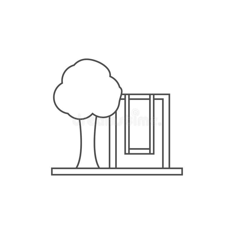 树和儿童的摇摆象 流动概念和网apps的元素 网站设计和发展的, app稀薄的线象 向量例证