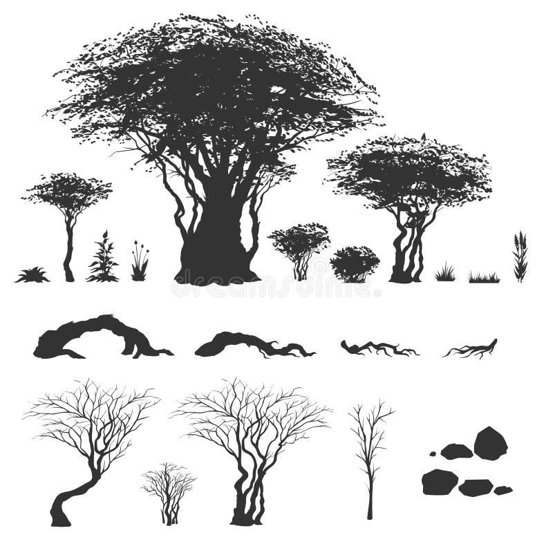 树和其他自然元素 皇族释放例证