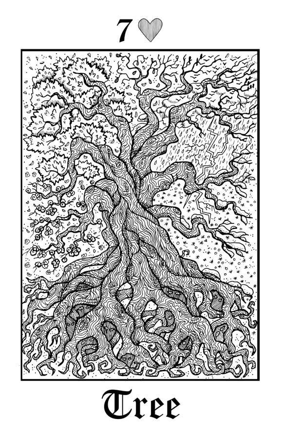 树和季节 从传染媒介Lenormand哥特式奥秘oracle甲板的占卜用的纸牌 库存例证