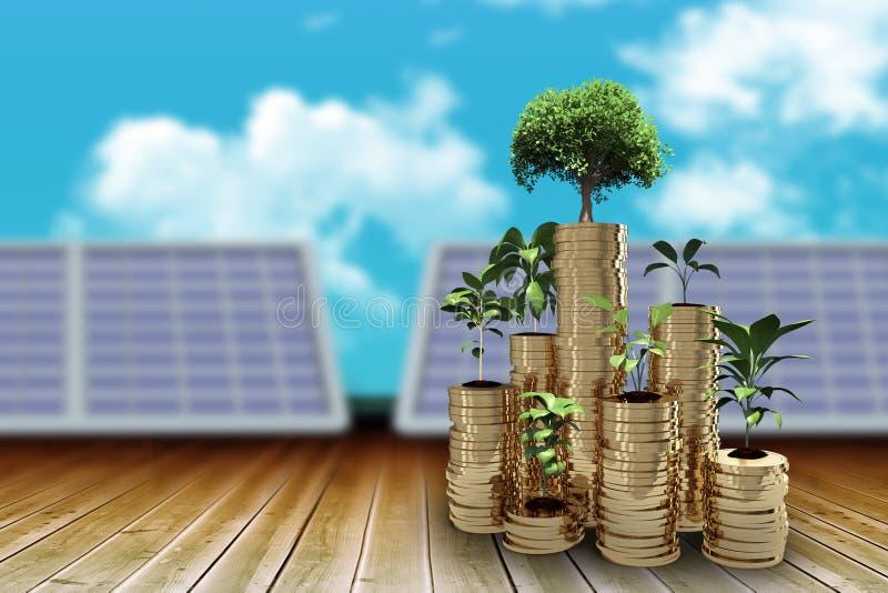树和植物的综合图象金币3d的安排的 库存例证
