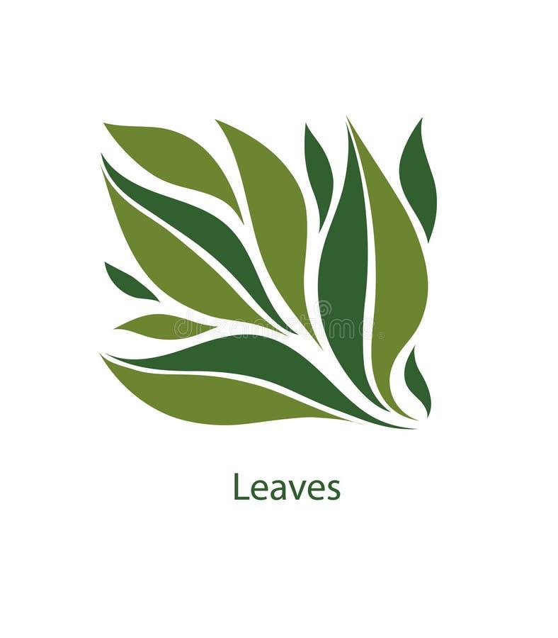 树和植物绿色叶子 eco,有机和生物商标的元素 在白色背景留下象传染图片