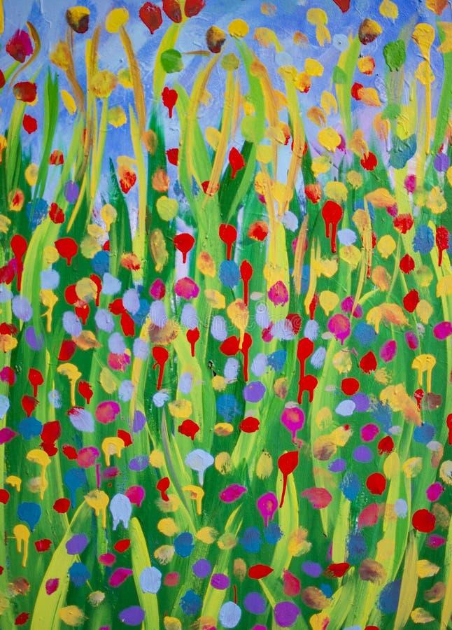 树和植物绿色黄色和红色绘画  免版税库存图片