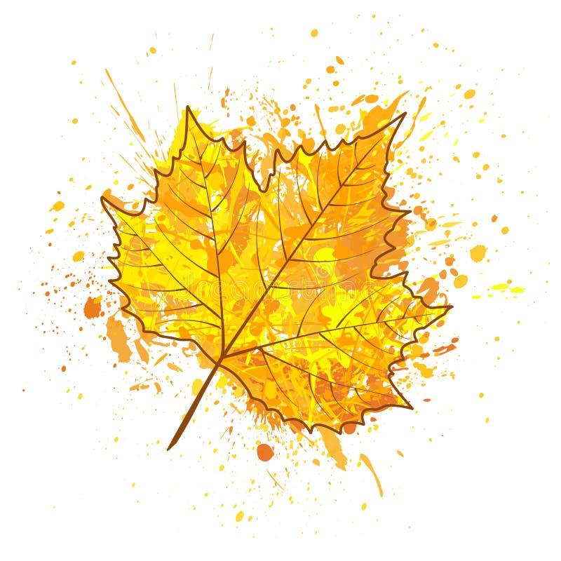 树和油漆的秋天叶子飞溅,下落,污点 库存例证
