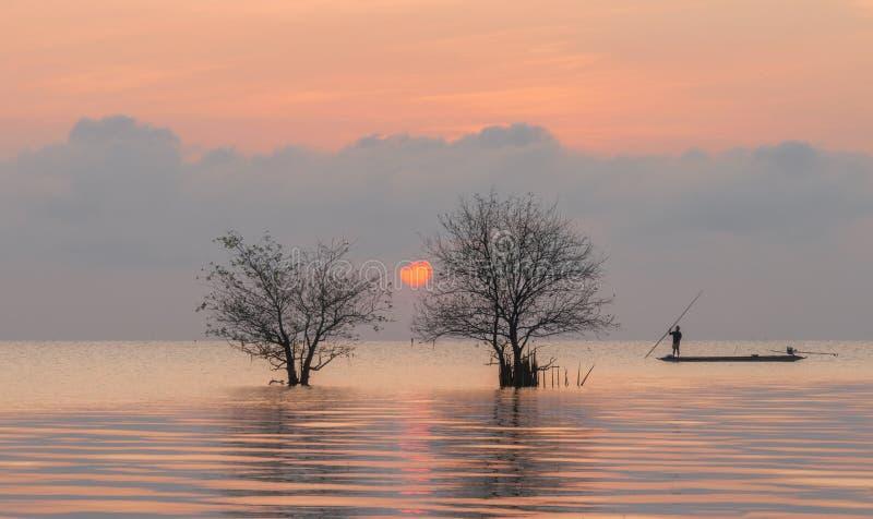 树和渔夫在有美好的日出和天空的湖 免版税库存图片
