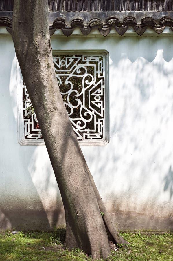 树和窗口在谦逊的管理员的庭院里,苏州,中国 免版税库存照片