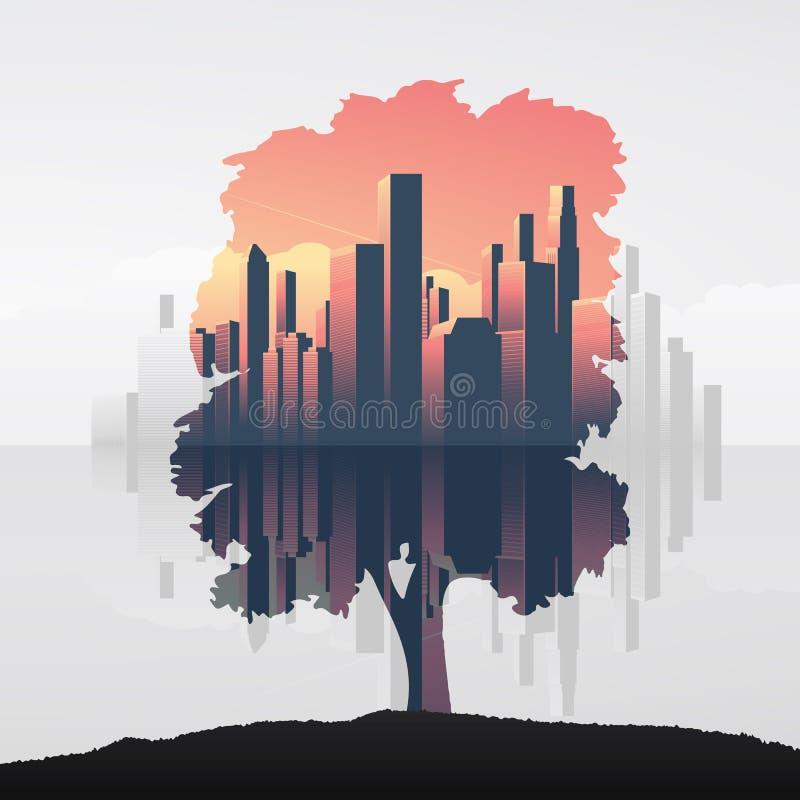 树和都市企业地平线两次曝光导航例证背景 环境,自然,生态的标志 向量例证