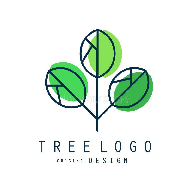 树商标原始的设计、绿色eco和生物徽章,抽象有机元素传染媒介例证 向量例证
