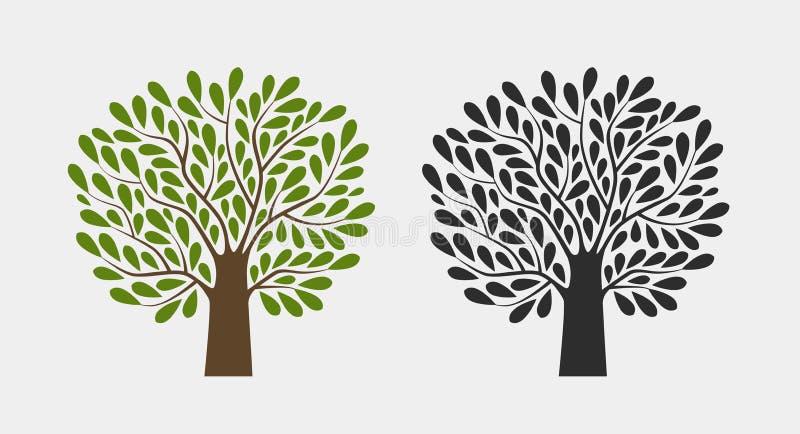 树商标或标志 自然,庭院,生态,环境象 也corel凹道例证向量 向量例证