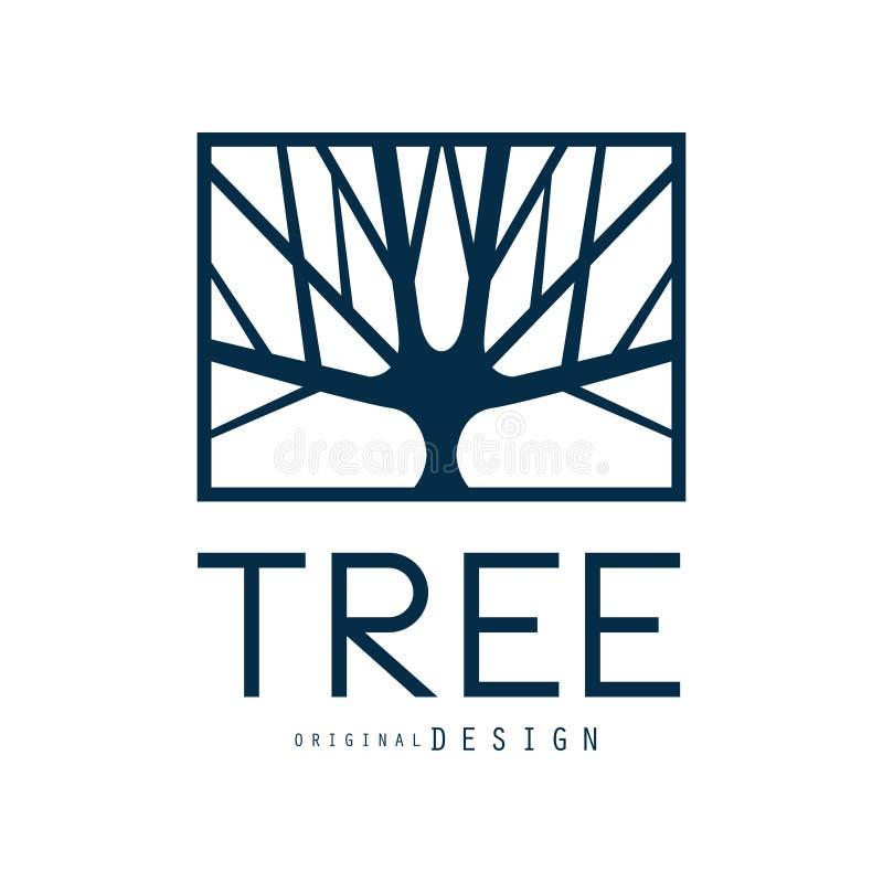 树商标模板原始的设计,蓝色eco徽章,抽象有机元素传染媒介例证 皇族释放例证