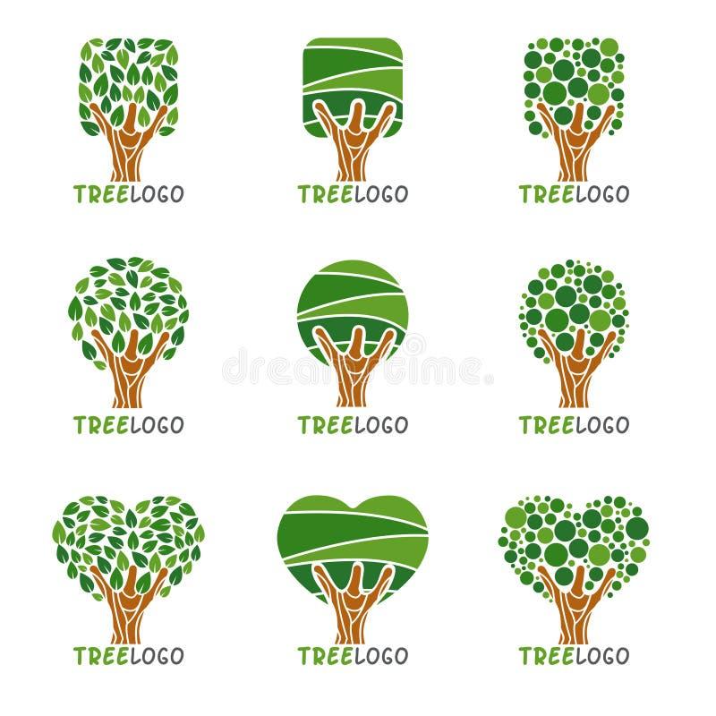 树商标-正方形、圈子和心脏叶子称呼传染媒介布景 皇族释放例证