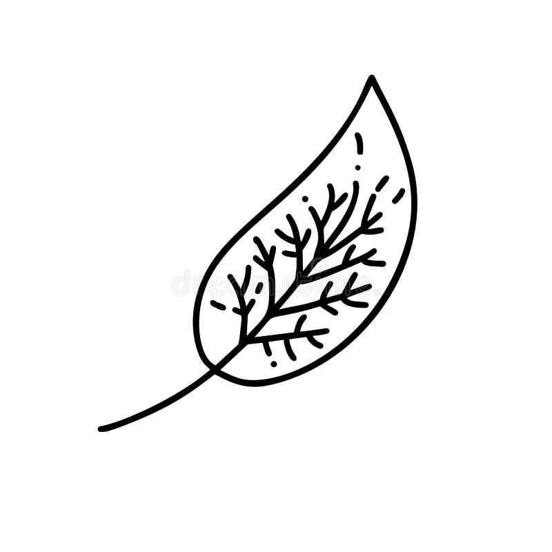 树商标Monoline叶子  在线性样式的概述象征 传染媒介天然产品设计的,花摘要象 库存例证