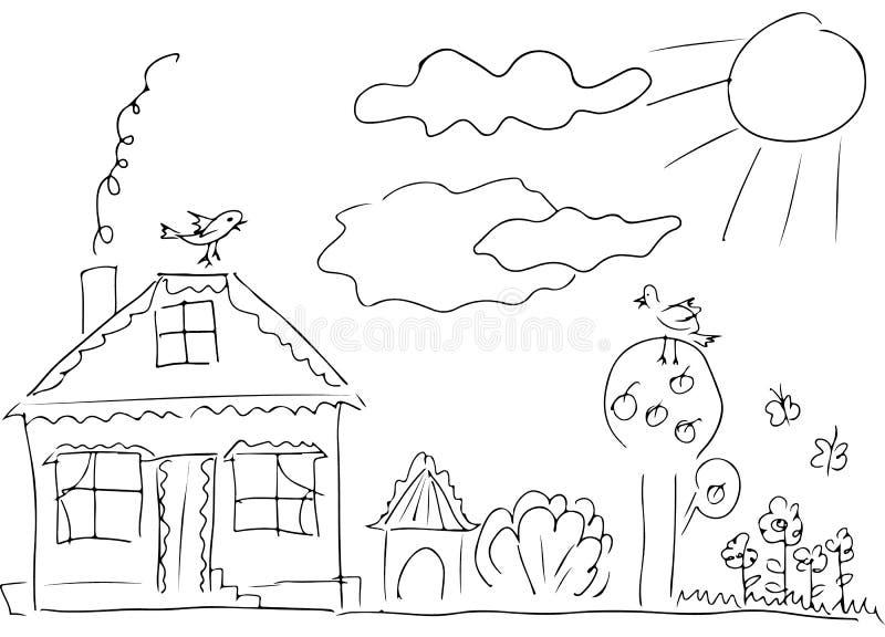 树围拢的乡下房子剪影 r r 向量例证