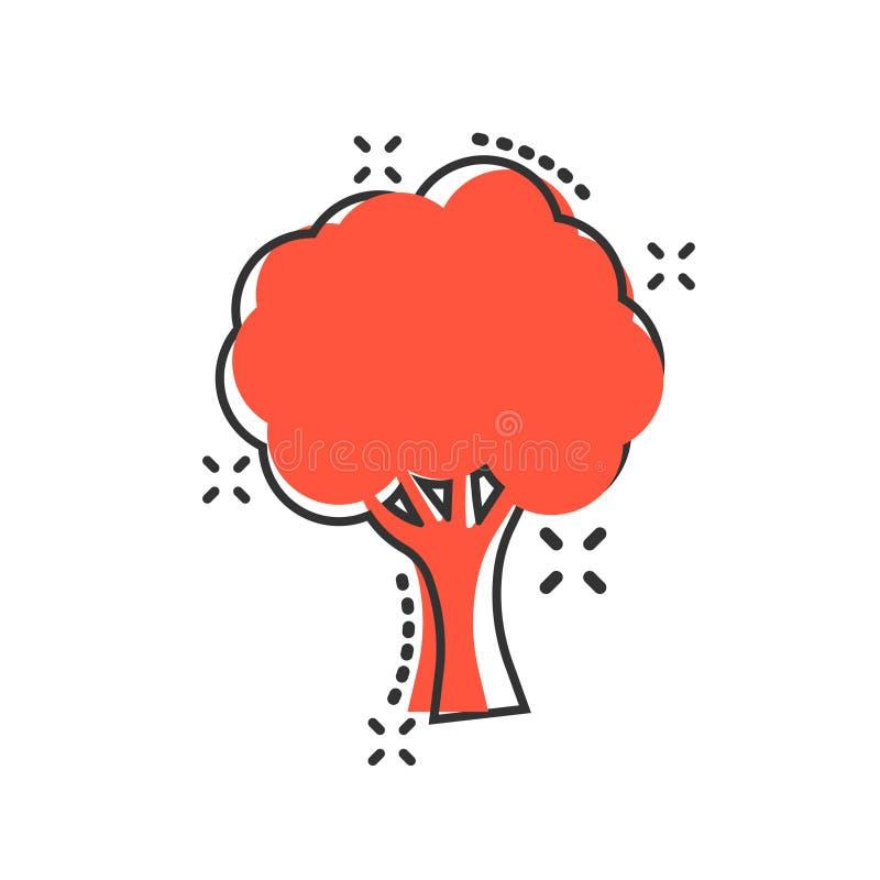 树在可笑的样式的标志象 分支森林传染媒介在白色被隔绝的背景的动画片例证 硬木企业概念 库存例证