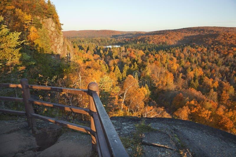 树在从一风景overloo和湖观看的秋天颜色、小山 免版税库存照片