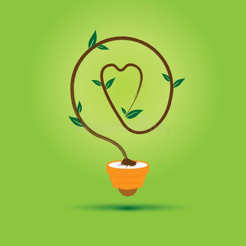 树在绿色背景的电灯泡心脏 库存例证