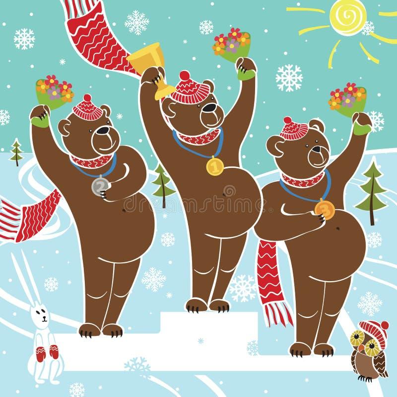 树垫座的棕熊冠军。授予优胜者 库存例证