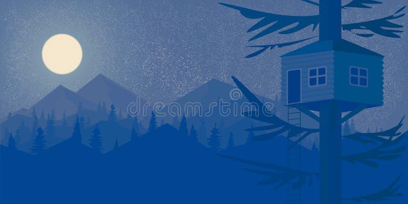 树夜森林的议院和仿照Flet传染媒介样式的山大满月墙纸风景 向量例证