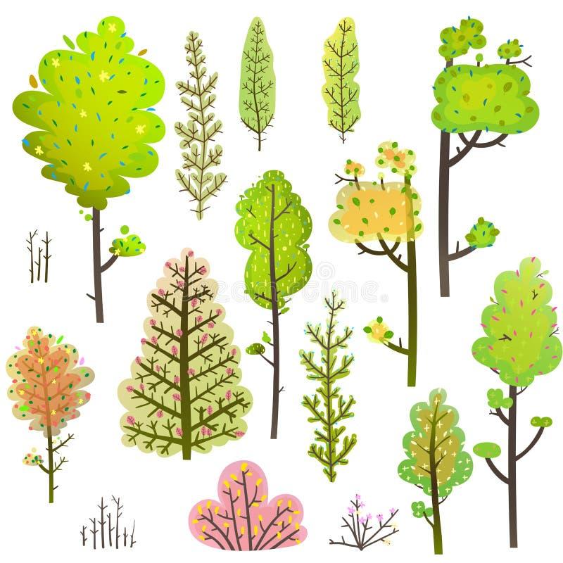 树布什绿色森林Clipart汇集 皇族释放例证