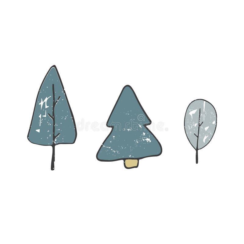 树得出破旧的在白色背景的剪贴美术样式颜色蓝绿色纹理森林元素木简单的乱画例证 库存例证
