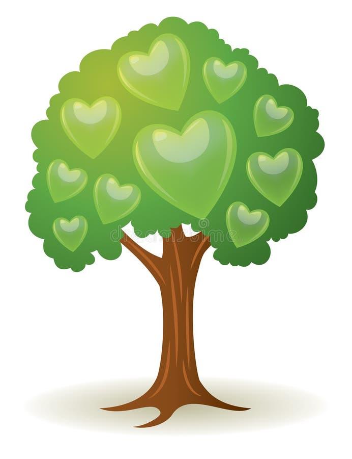 树心脏商标 向量例证