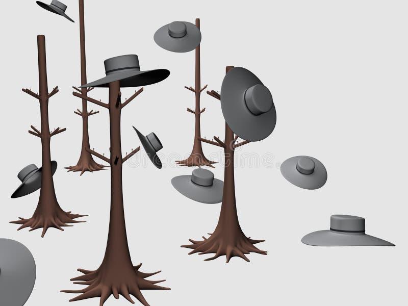 树挂衣架帽子Decor_Raster 库存例证