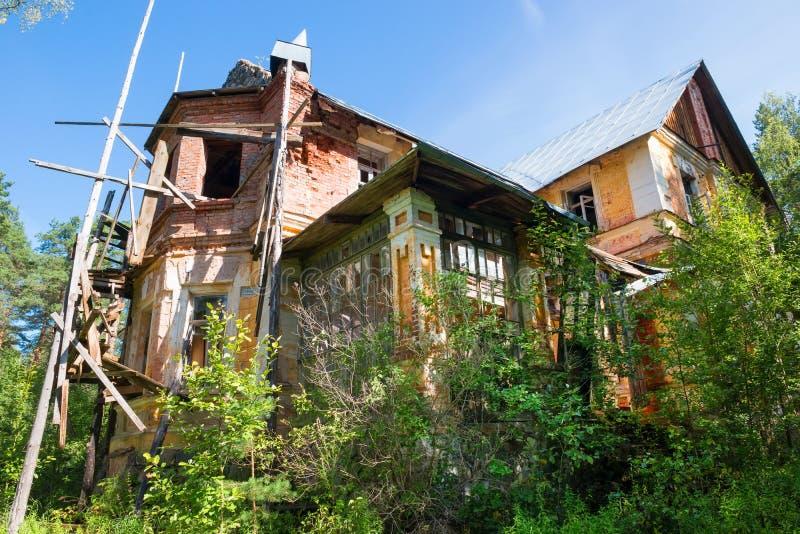树木丛生的老房子 库存照片