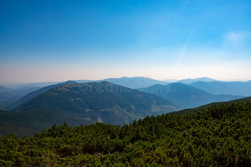 树木繁茂的小山和绿色山谷在蓝天下 免版税库存图片